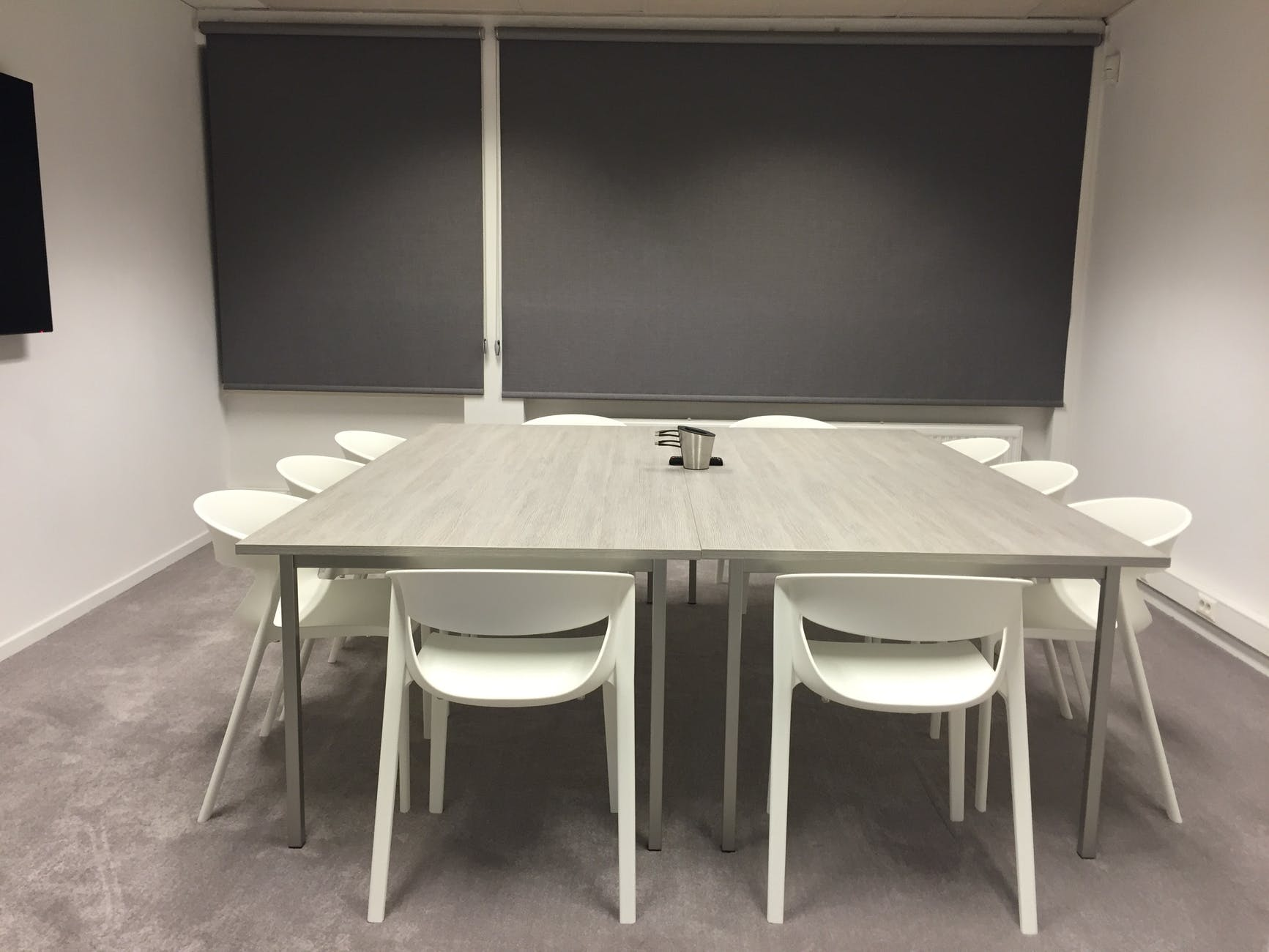 black and white blackboard blinds chairs